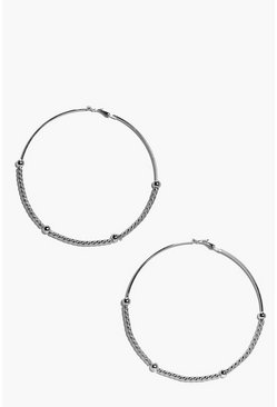 Bella Elaborate Bead And Twist Hoop Earrings