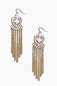 Eva White Stone Heart Chandelier Earrings