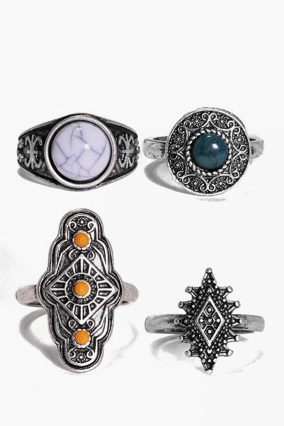 Daisy 4 Piece Boho Stone Ring Pack