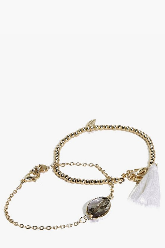 Amy Leaf And Black Stone Skinny Bracelet Set