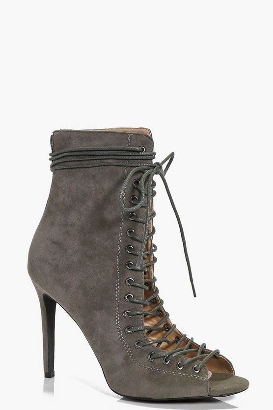 Ivy Peeptoe Lace Up Heeled Shoe Boot