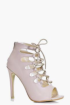 Clara Peeptoe Ghillie Lace Up Heel