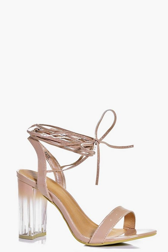 Tilly Wrap Strap Clear Block Heels