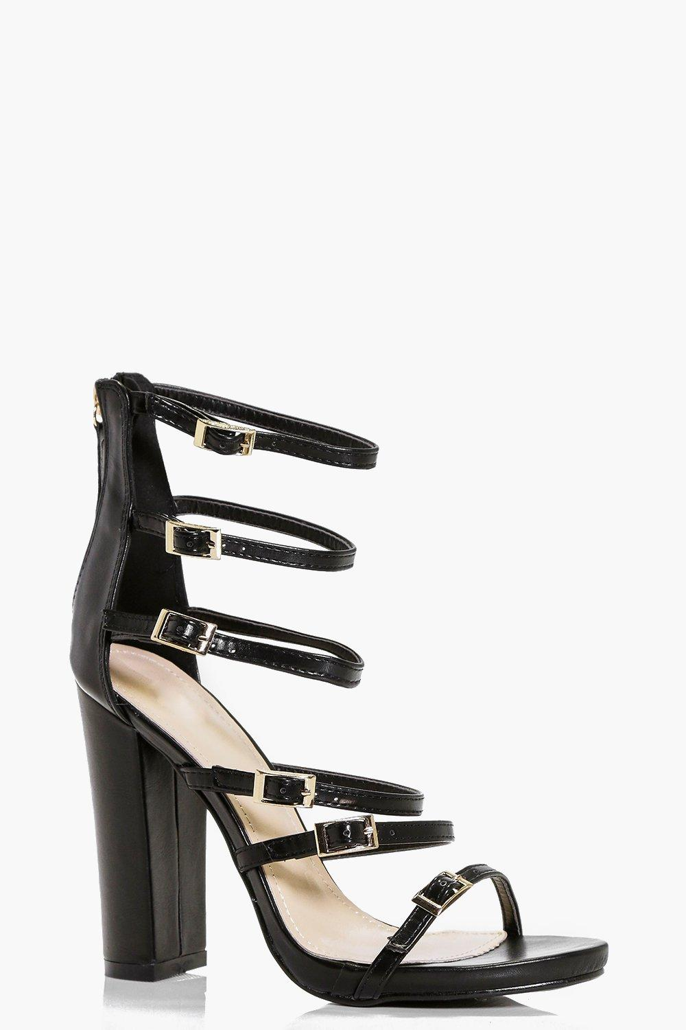 Zoe Multi Buckle And Strap Block Heels