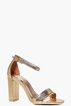 Eva Metallic Block Heel Two Part Shoe