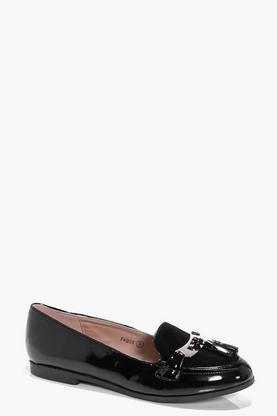 Orla Patent And Suedette Mix Tassel Trim Loafer