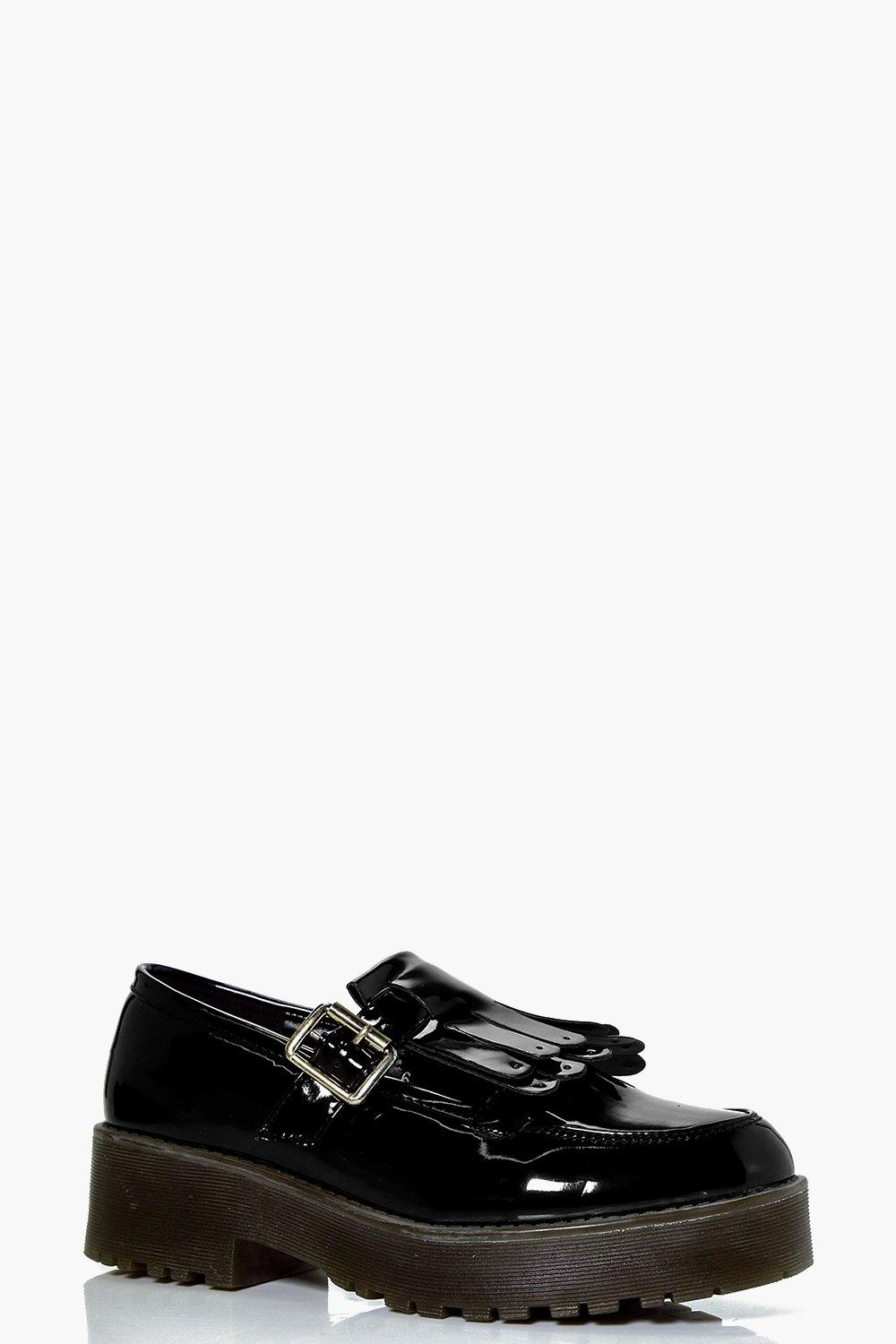 Ellie Fringe And Buckle Trim Chunky Flat