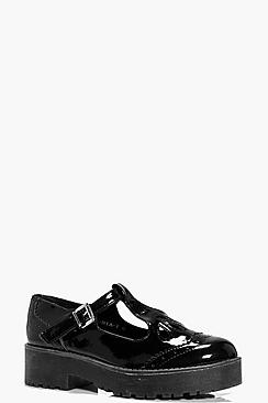 Millie Patent T Bar Chunky Flat