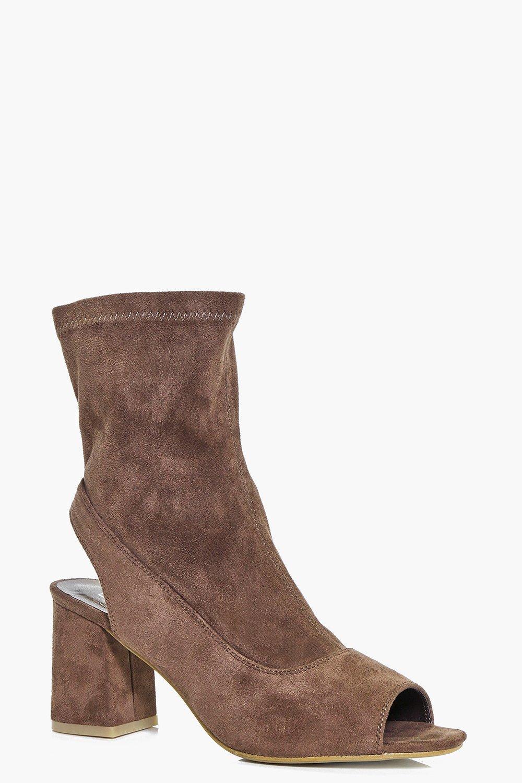 Peeptoe Block Heel Sock Boot mocha