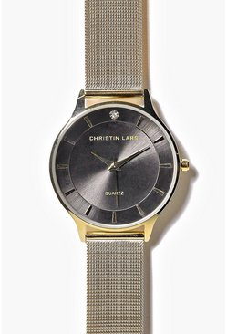 Kara Contrast Face Mesh Metal Strap Watch