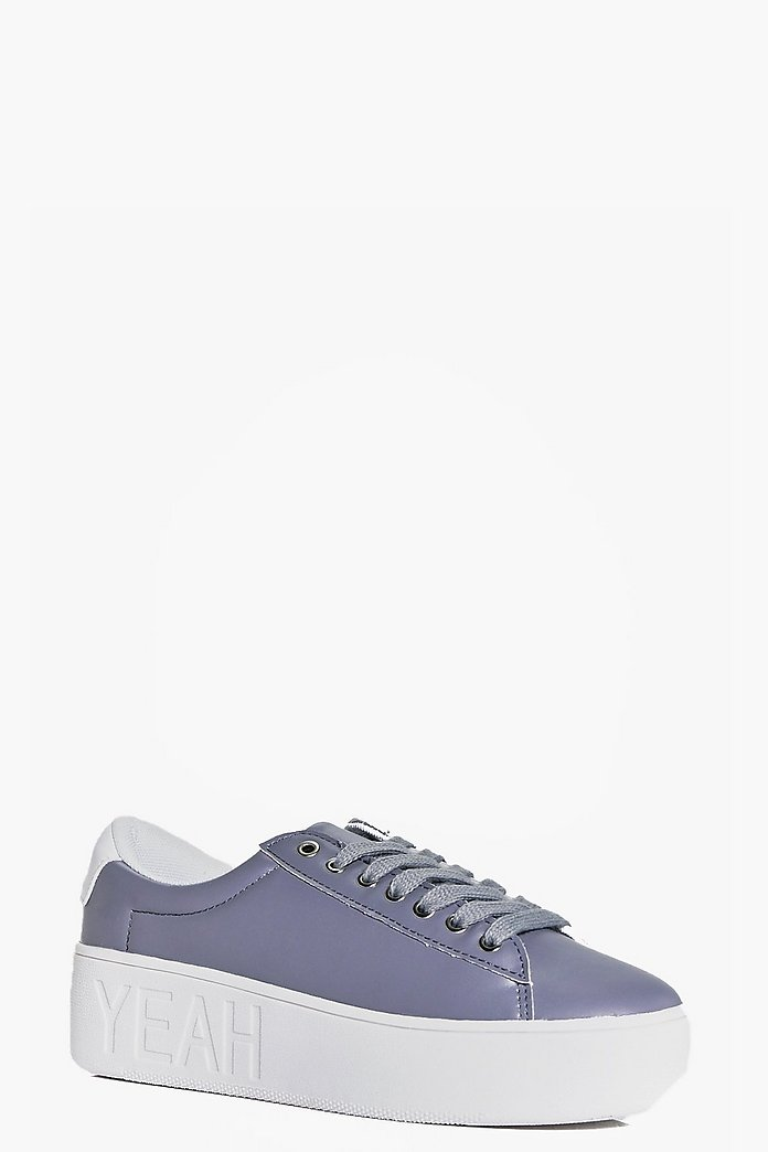 Laura Embossed Hell Yeah Lace Up Trainer