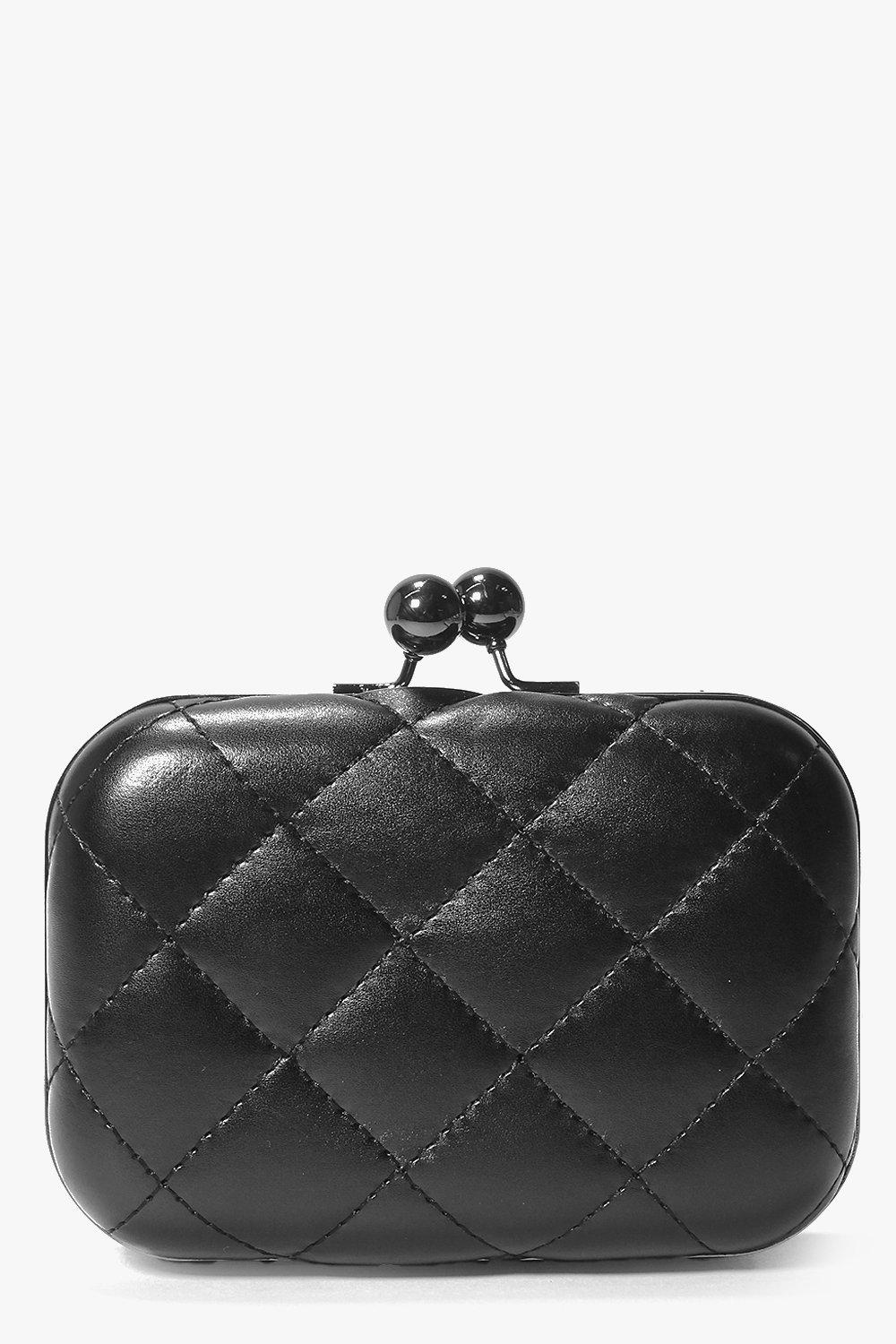 Quilted Box Clutch Bag black