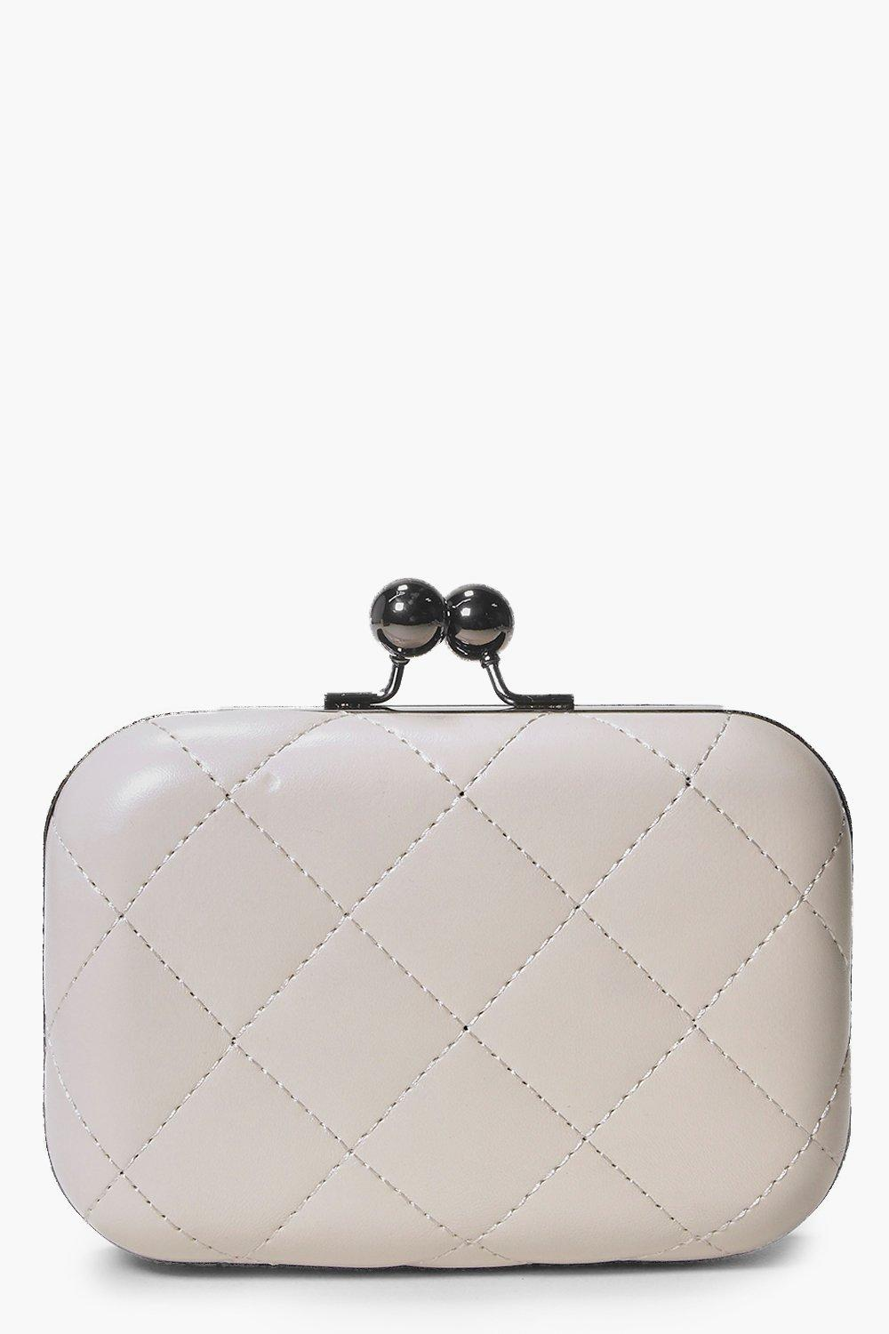 Quilted Box Clutch Bag cream