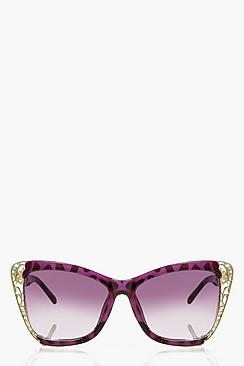 Faye Gold Filigree Cat Eye Sunglasses
