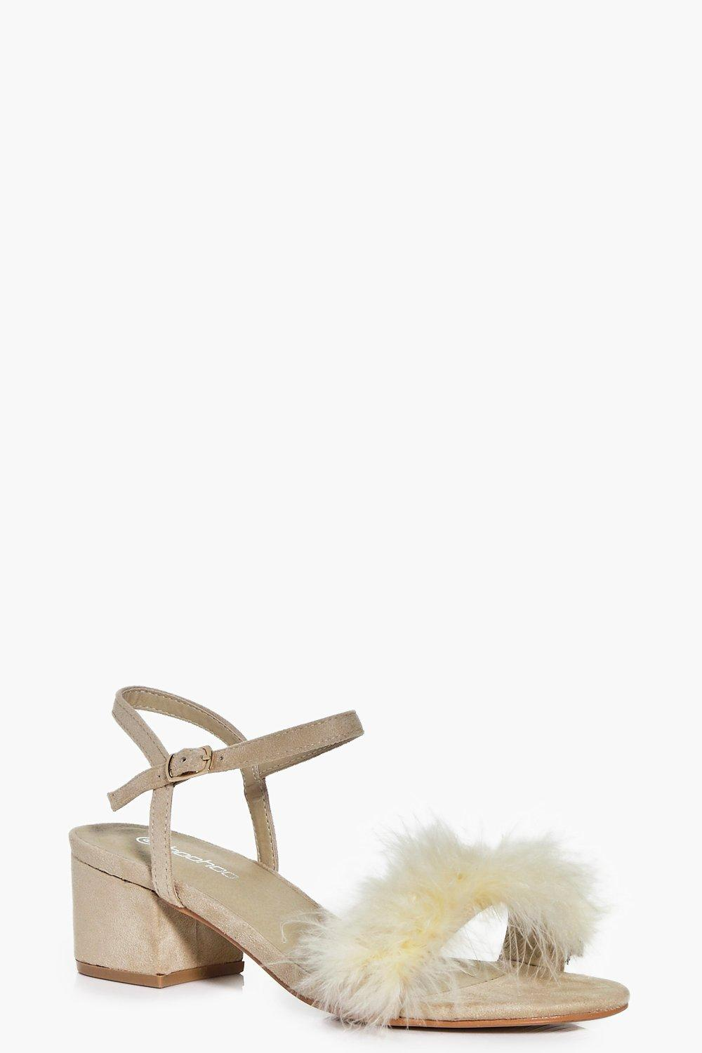 Erin Peeptoe Feather Trim Block Heels