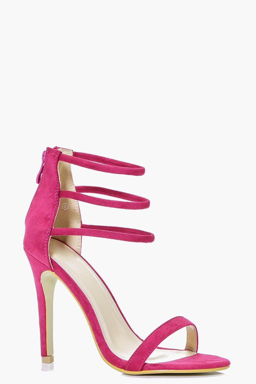 Three Ankle Band Heels fuchsia
