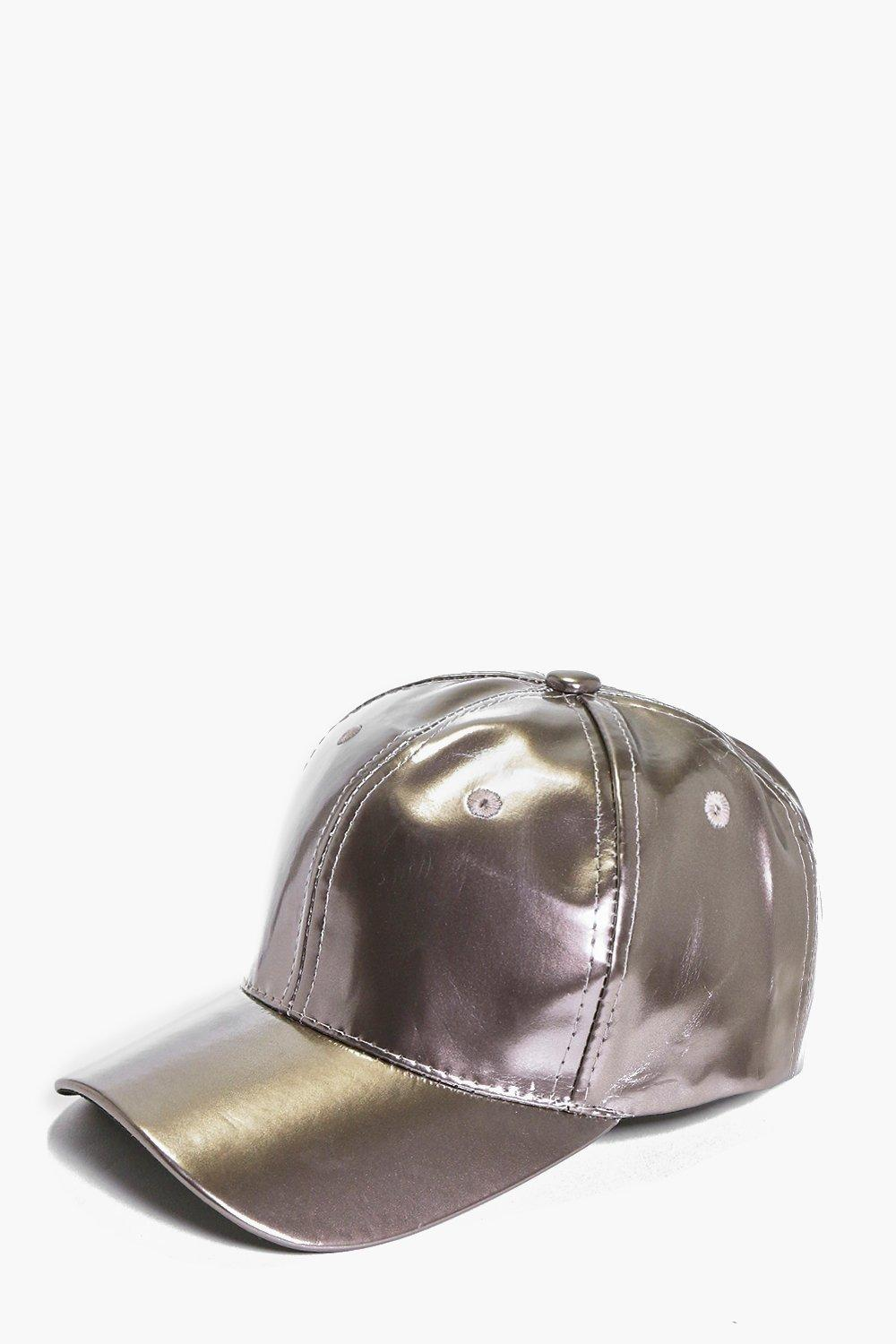 Abbie Metallic Leather Look Baseball Cap