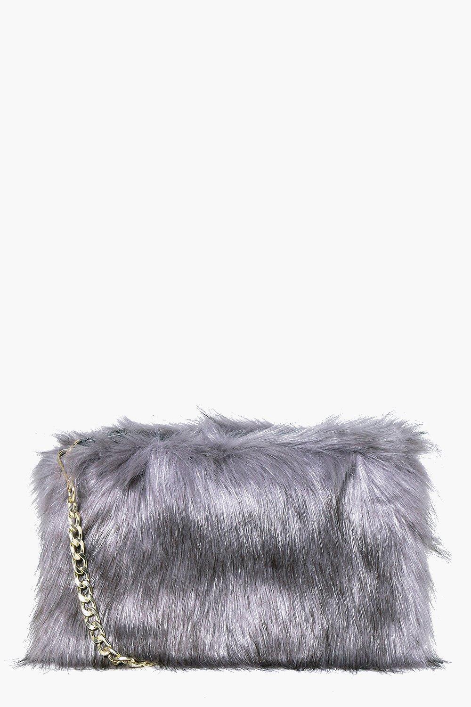 Faux Fur Cross Body Bag - grey - A bag will make s