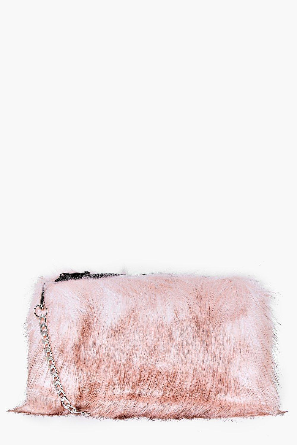 Faux Fur Cross Body Bag - pink - A bag will make s