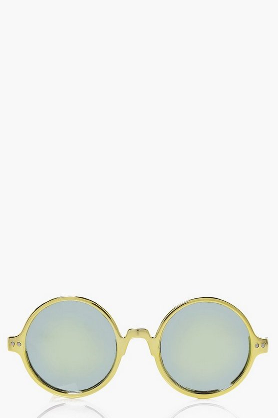 Lilly Gold Round Revo Lense Sunglasses