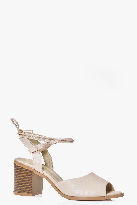 Low Block Heel Tie Sandal nude