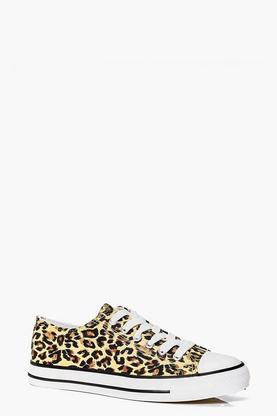 Imogen Leopard Print Lace Up Canvas Flat