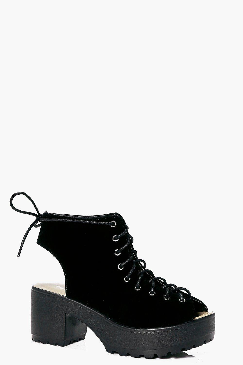 Violet Peeptoe Lace Up Cleated Shoe Boot