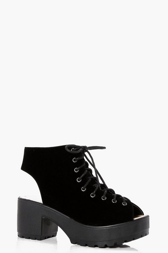 Peeptoe Lace Up Cleated Shoe Boot