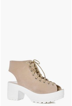 Lena Peeptoe Lace Up Cleated Shoe Boot