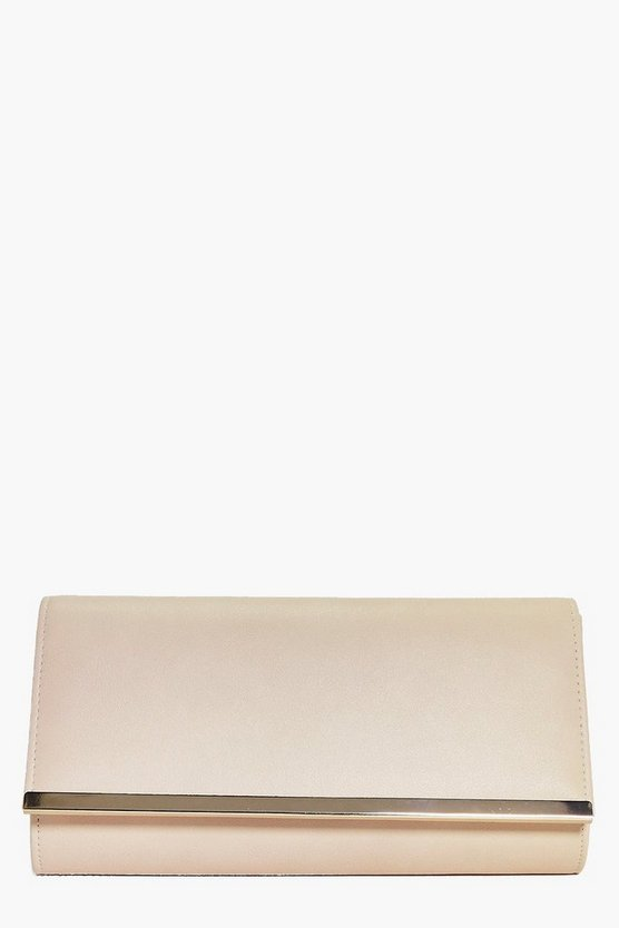 Rose PU Metal Bar Clutch Bag