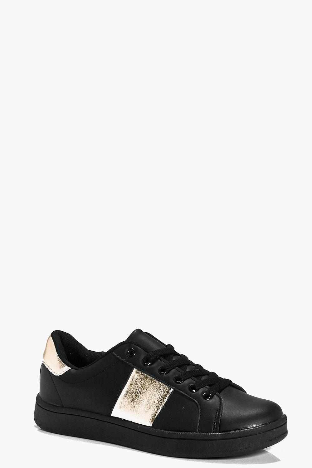 Bella Metallic Panel Lace Up Trainer