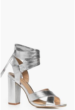 Ella Block Heel Cross Front Wrap Strap