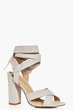 Anna Block Heel Cross Front Wrap Strap