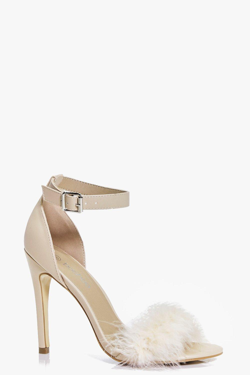 Emma Two Part Faux Feather Trim Sandal