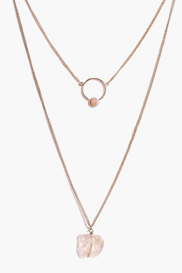 Faye Circle And Crystal Layered Necklace