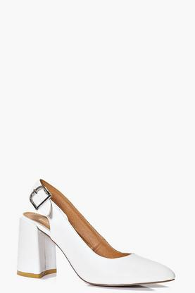 Megan Pointed Block Heel Slingback