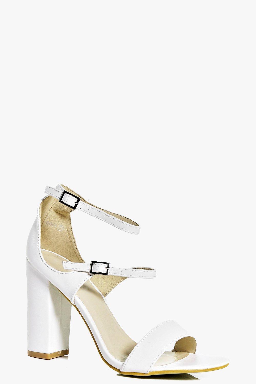Triple Band Block Heels white