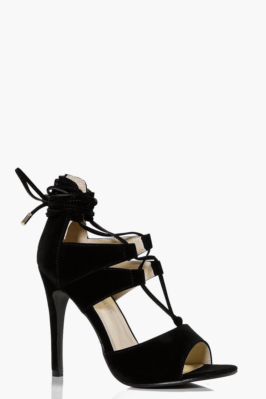 Peeptoe Wrap Strap Cage Heels black
