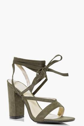 Layla Wrap Strap High Block Heels