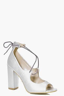 Elena Peeptoe Block Heel Strappy Heels