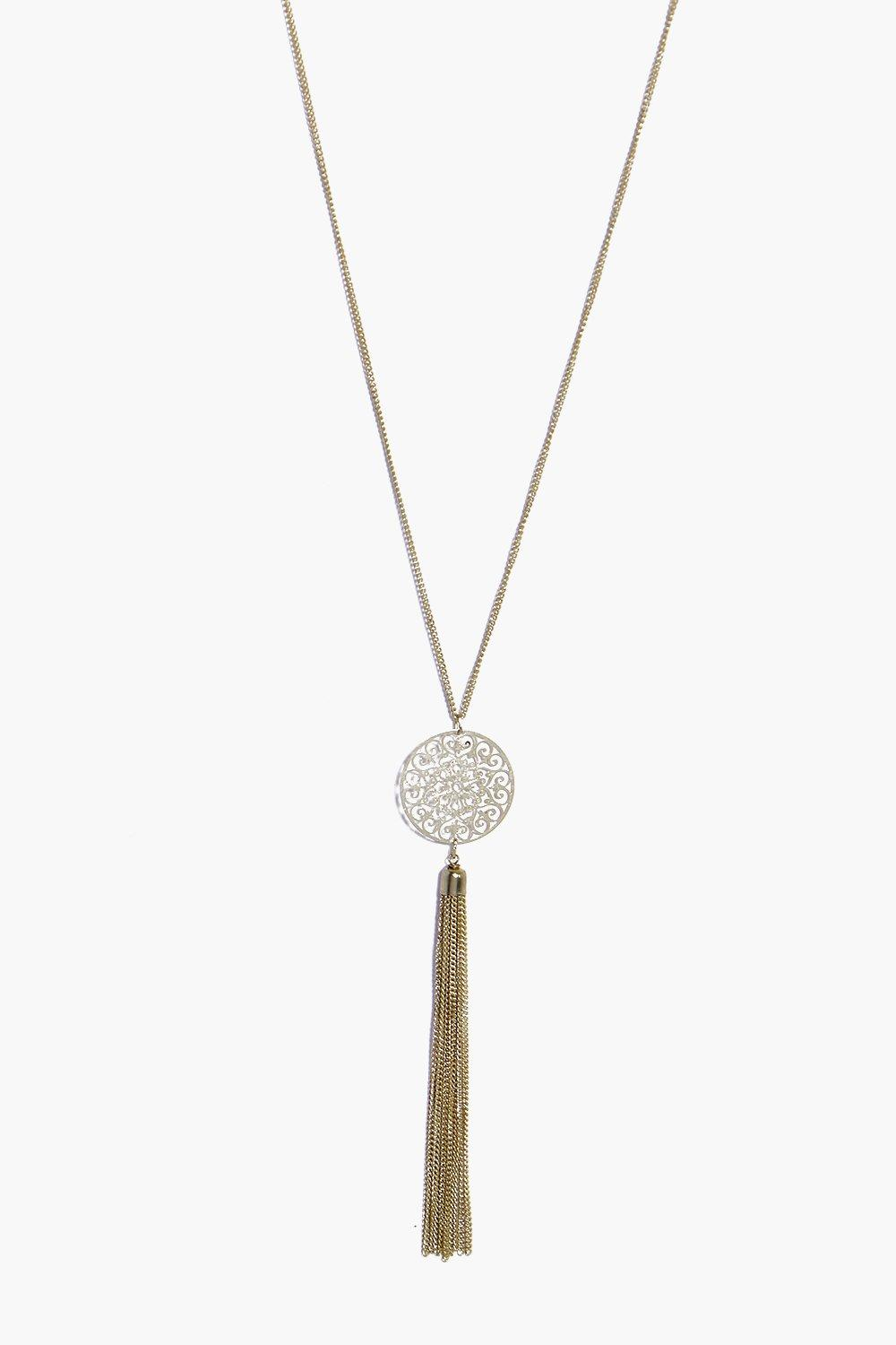 Zoe Long Skinny Pendant And Tassel Necklace