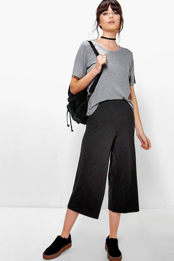 Adara Jersey Basic Long Line Wide Leg Culottes