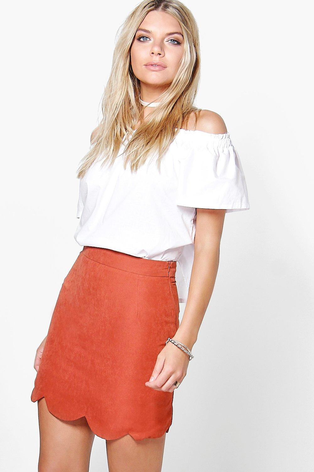 Scalloped Hem Woven A Line Skirt  rust