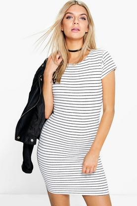 Della Stripe Print Mini Bodycon Dress