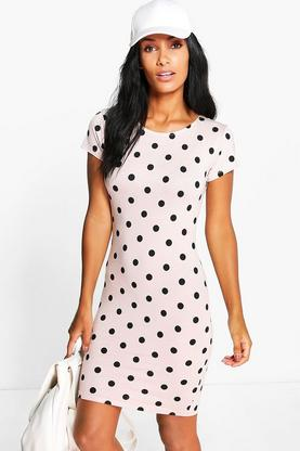 Sarah Spot Cap Sleeved Mini Bodycon Dress