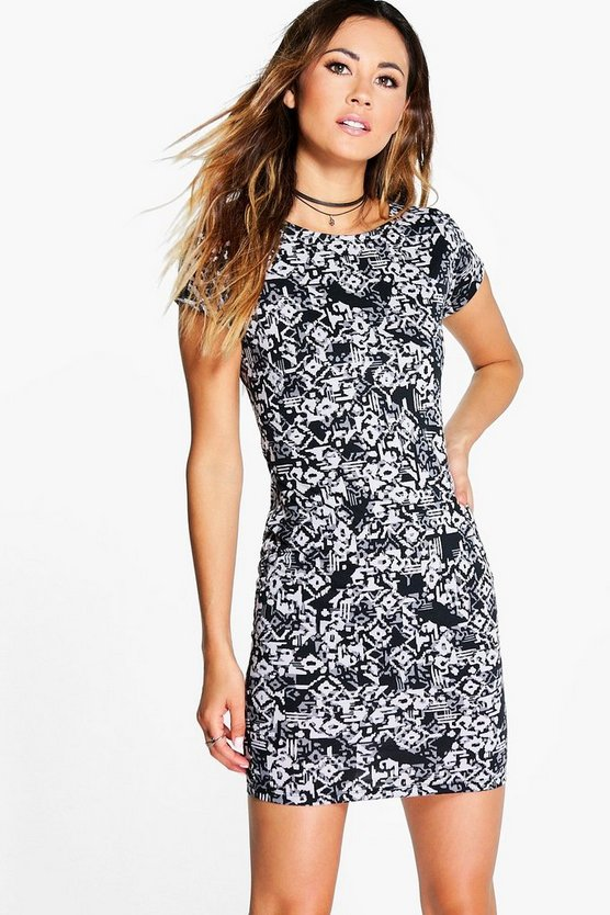 Alison Aztec Print Mini Bodycon Dress