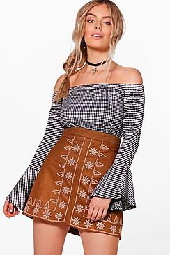 Naia Embroidered Front A Line Suedette Mini Skirt