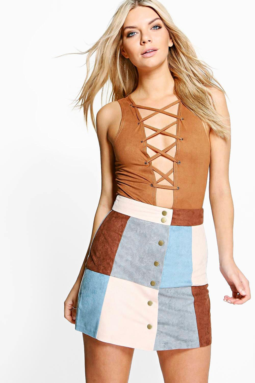 Avah Patchwork Suedette A Line Mini Skirt