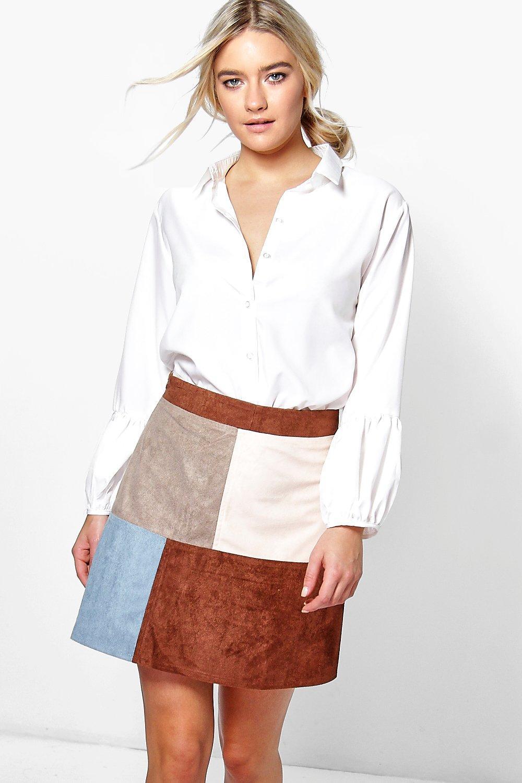 Patchwork Suedette A Line Mini Skirt blue