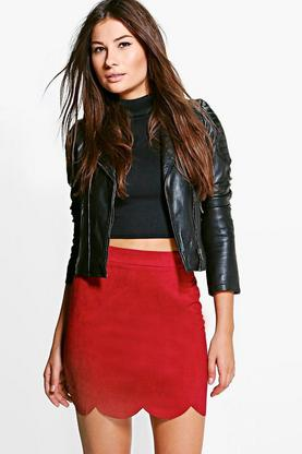 Baha Scalloped Hem A Line Suedette Skirt